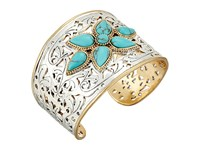 Lucky Brand Etched Turquoise Statement Cuff Bracelet Two Tone Bracelet Metallic