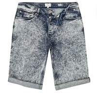 River Island Mens Dark Acid Wash Skinny Fit Denim Shorts
