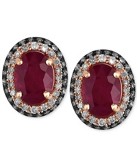 Effy Collection Red Velvet By Effy Ruby 1 9 10 Ct. T.W. And Diamond 3 8 Ct. T.W. Oval Stud Earrings In 14K Rose Gold