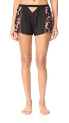 For Love And Lemons Hibiscus Silk Sleep Shorts Pink Black