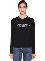 Dsquared Logo Printed Cotton Jersey Sweatshirt Black