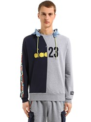 Diadora Lc23 Color Block Twill Sweatshirt Blue Grey