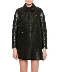 Valentino Scalloped Rockstud Leather Coat Black
