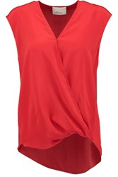 3.1 Phillip Lim Wrap Effect Silk Crepe De Chine Blouse Red