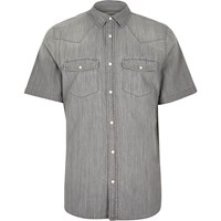 River Island Mens Grey Casual Short Sleeve Denim Shirt