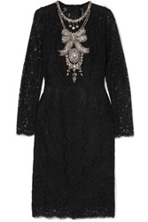 Dolce And Gabbana Crystal Embellished Corded Lace Tulle Dress Black