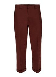 Topman Red Burgundy Twill Slim Fit Smart Trousers