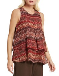 Bcbgeneration Tiered Pleated Tapestry Print Tank Coffee Bean Combo