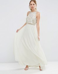 Asos All Over Embellished Crop Top Maxi Dress White Multi