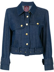 John Galliano Vintage Belted Denim Jacket Blue