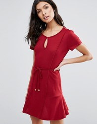 Pussycat London Drop Hem Dress With Tie Waist Red