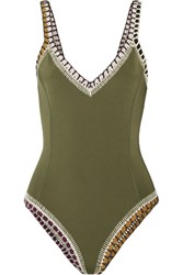 Kiini Wren Crochet Trimmed Swimsuit Army Green