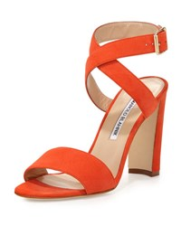 Manolo Blahnik Tondala Suede Ankle Wrap Sandal Orange
