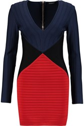 Balmain Color Block Bandage Mini Dress Navy