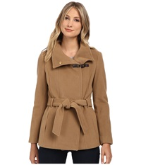 Cole Haan Belted Double Breasted Jacket With Snap Camel Women's Coat Tan