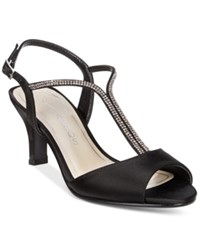 Caparros Delicia T Strap Evening Sandals Women's Shoes Black Satin