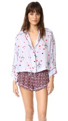 Free People Printed Short Sleep Set Purple Combo