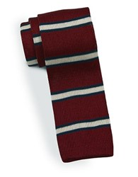 Brooks Brothers Striped Knit Silk Tie Red