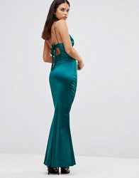 Club L Satin Cami Strap Tie Back Maxi Dress Emerald Green
