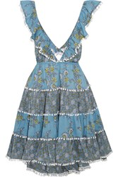 Zimmermann Caravan Ruffled Floral Print Cotton Mini Dress Light Blue