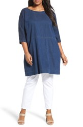 Eileen Fisher Plus Size Women's Tencel And Organic Cotton Denim Tunic Dress
