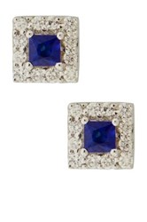 Bony Levy 14K White Gold Blue Sapphire And Diamond Square Stud Earrings Metallic