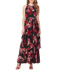 Tahari By Arthur S. Levine Sleeveless Floral Printed Tiered A Line Gown Black Scarlet
