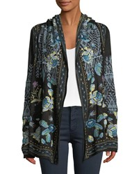 Johnny Was Beiro Hooded Floral Embroidered Cardigan Black