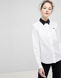 Fred Perry Tonal Check Detail Shirt With Contrast Collar White