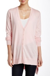 Cullen V Neck Silk Blend Long Cardigan Pink