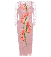 Dolce And Gabbana Tulle Dress With Applique Pink