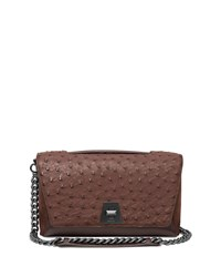 Akris Anouk Day Ostrich And Leather Shoulder Bag Mocha Mocca