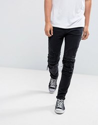 Cayler And Sons Skinny Biker Jeans In Black With Distressing