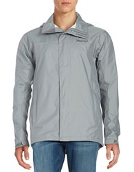 Marmot Precip Lightweight Colorblocked Jacket Grey Storm