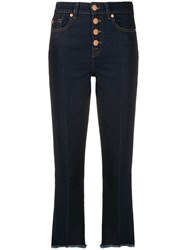7 For All Mankind Fringed Highwaisted Jeans Blue