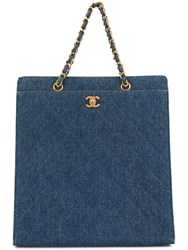 Chanel Vintage Quilted Cc Logos Chain Hand Tote Bag Blue