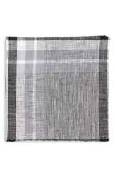 Todd Snyder Plaid Linen Pocket Square Black