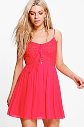 Boohoo Lace Up Detail Skater Dress Red