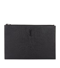 Saint Laurent Leather Croc Embossed Document Case Black