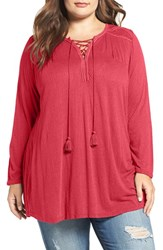 Lucky Brand Plus Size Women's Lace Front Peasant Top