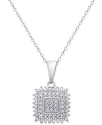 Macy's Diamond Square Pendant Necklace 1 2 Ct. T.W. In Sterling Silver Or 18K Gold Plated Sterling Silver