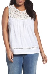 Caslonr Plus Size Women's Caslon Lace Trim Cotton Tank