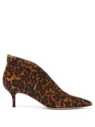 Gianvito Rossi Vania 55 Leopard Print Suede Ankle Boots Leopard