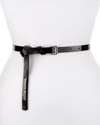 Cnc Costume National Patent Leather Skinny Belt Black