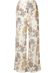 See By Chloe Printed Plisse Wide Leg Trousers Yellow And Orange