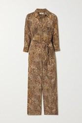 L'agence Belted Printed Silk Crepe De Chine Jumpsuit Brown