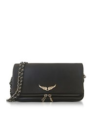 Zadig And Voltaire Black Leather Foldable Rock Clutch