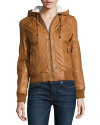 Marc New York By Andrew Marc Raquel Hooded Leather Jacket Amber