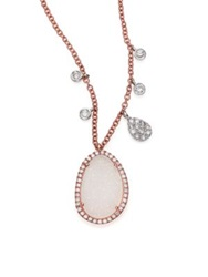 Meira T Druzy Mother Of Pearl Diamond And 14K Rose Gold Pendant Necklace