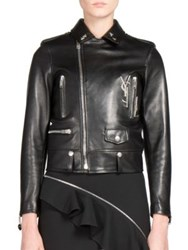 Saint Laurent Embellished Leather Moto Jacket Black Silver